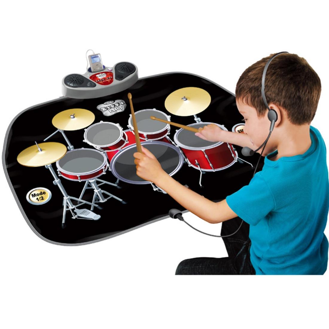 Surwish enfants début éducatif Instrument de musique multi-fonction Intelligence développement tambour jouet ensemble couverture pour les enfants