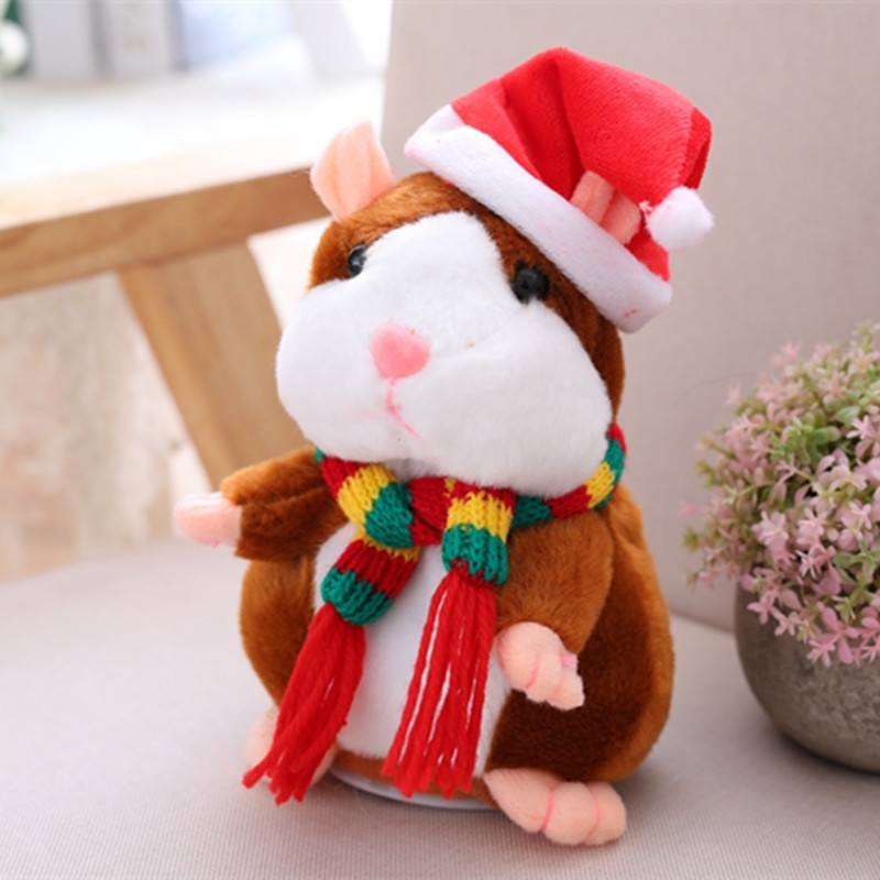 16cm Christmas Talking Hamster Plush Toy Interactive Sound Record Plush Hamster Stuffed Toys for Children Kids Christmas Gift creative kids talking hamster electronic pet toy 1pc