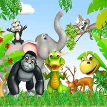 Laeacco Cartoon Elephant Monkey Jungle Party Baby Photography Backgrounds Customized Photographic Backdrops For Photo Studio