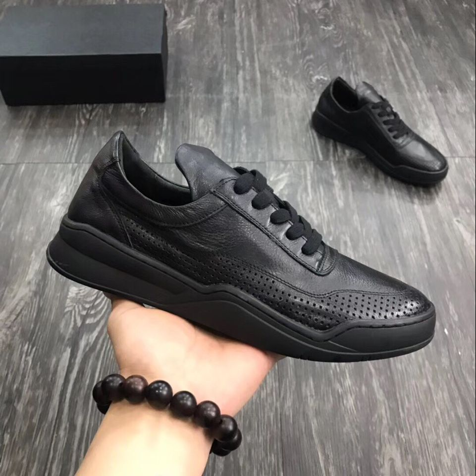 Big sales 2019 four seasons genuine leather men shoes flat lace up punching round toe causal shoes-in Men's Casual Shoes from Shoes    2
