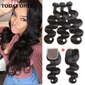 Queen Hair Brazilian Body Wave 3 Bundles with Closure 10A Grade Virgin Unprocessed Human Hair Bundles with Closure Annabelle