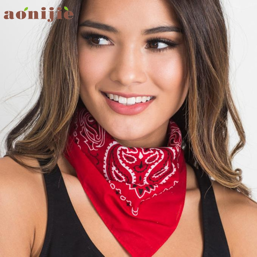 3 Colors Cute Women Print Bandana Scarf Square Head Scarf Female Motorcycle Headwear Outdoor Cool Activities Riding Collar Dec8 color block geometric bandana scarf