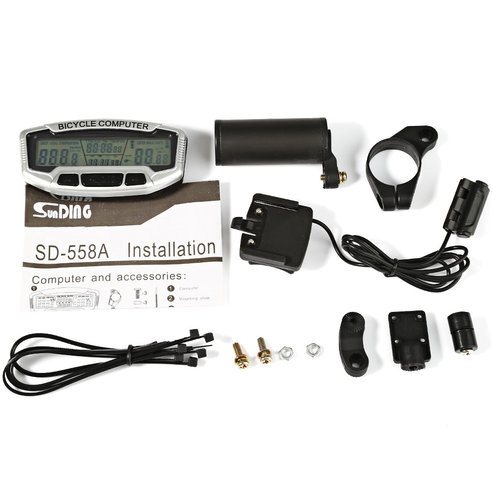 Durable Digital Bike Bicycle Computer LCD Odometer Speedometer Clock SD558A