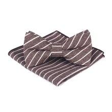 купить Bridegroom Wedding Party Business Men Tuxedo Suit Gray Navy Blue Khaki Brown Stripe Pocket Square Towel Handkerchief Bow Tie Set по цене 455.77 рублей