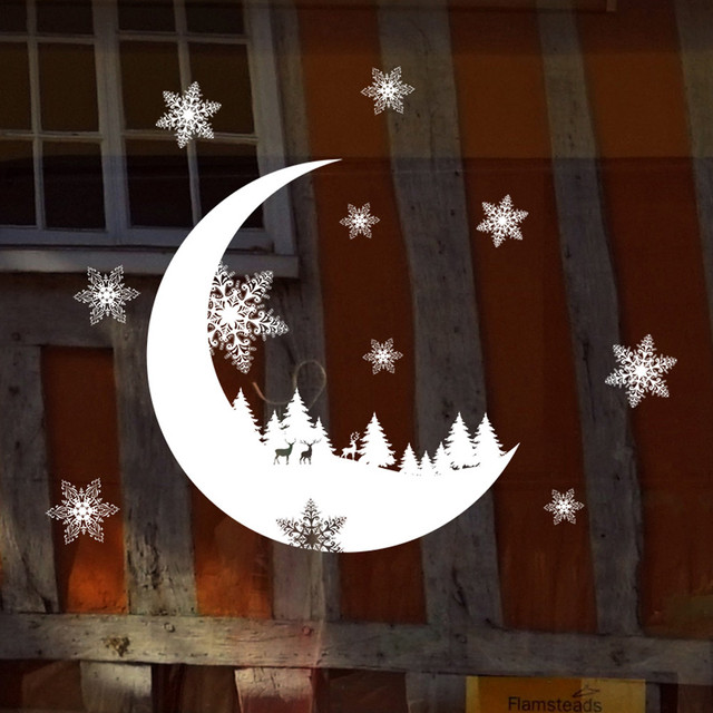 Kerstversiering Maan sneeuwvlok Elanden PVC Muursticker Etalage ...