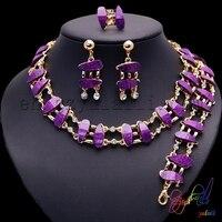 2017 großhandel neuesten Afrikanischen traditionellen lila schmuck set heißer verkauf frauen gold-farbe perlen juwelen
