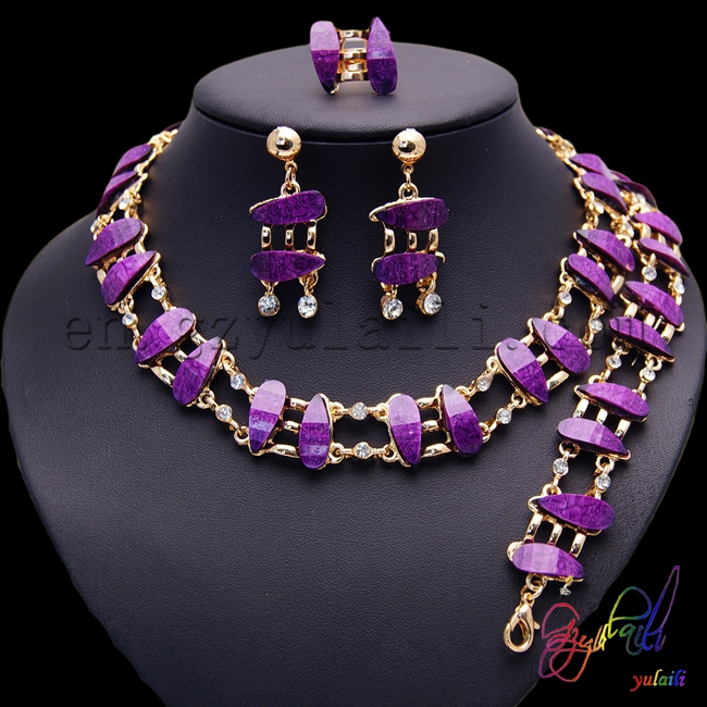2017 wholesale latest African traditional purple jewellery set hot sale women gold-color ...
