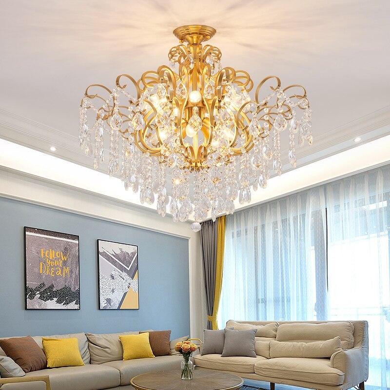 Cristal moderne or lustre pour salon chambre étude chambre maison déco acrylique 110V 220V cristal lustre luminaires-in Lustres from Lampes et éclairages on OLC Lights Store