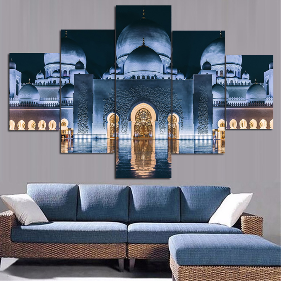 Canvas living room hd printed pictures home decor 5 panel - Landscape paintings for living room ...