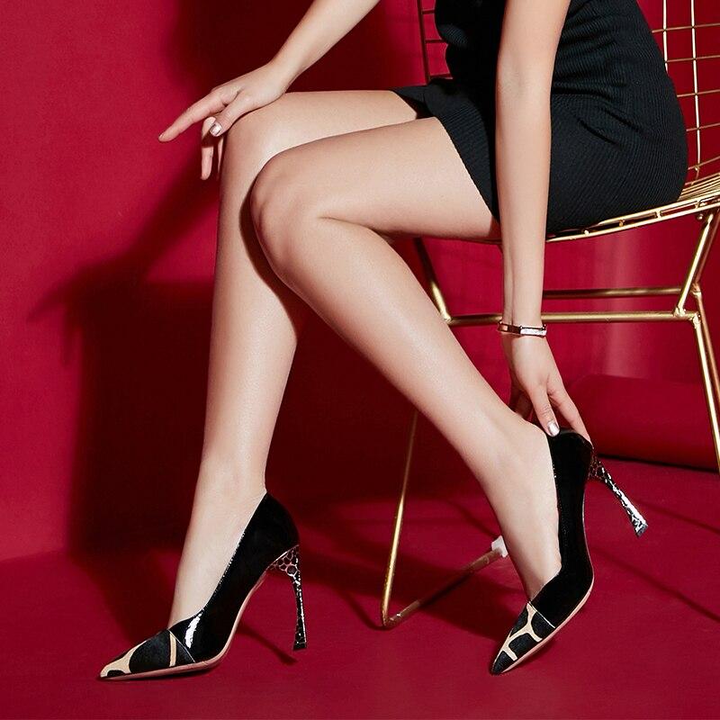Bombas Pie Del Mujer Alto Damas Superficial Oficina Otoño Zapatos Dedo Primavera De Patchwork Puntiagudo Moda Tacón Crin K8pBxwFvqa