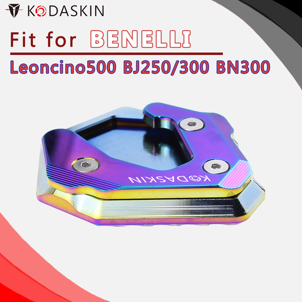 KODASKIN Motorcycle CNC Aluminum Side Stand Enlarge for Leoncino500 BJ250 BJ300 BN300 in Stands from Automobiles Motorcycles