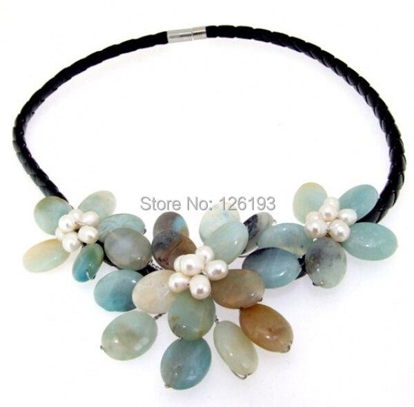 6046e06c7cf4 Amazon flor FW collar de perlas de la piedra preciosa semi 18
