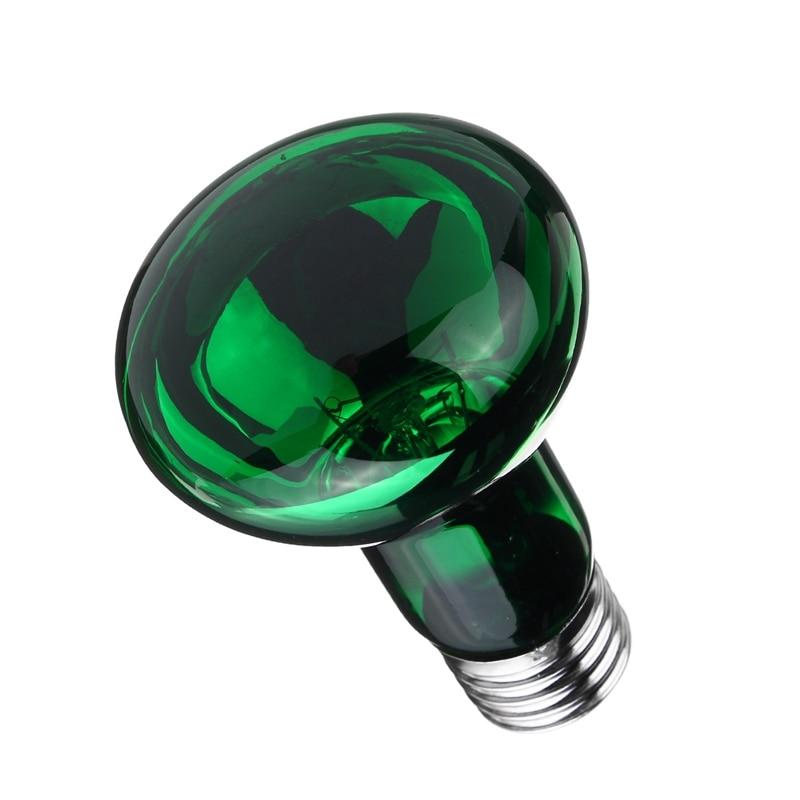 Green Pet Heating Light Bulb 25W/40W/50W/60W/75W/100W E27 R63 Night Heat Light Lamp Bulb For Reptile Pet Brooder AC220V-240V