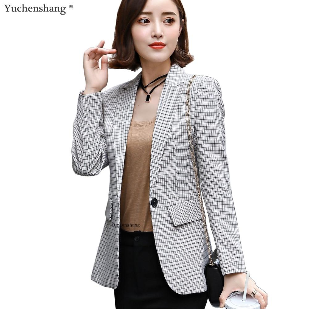 2018 Fashion Plaid blazer women autumn winter spring New chic long sleeve plus size striped jacket office ladies work wear