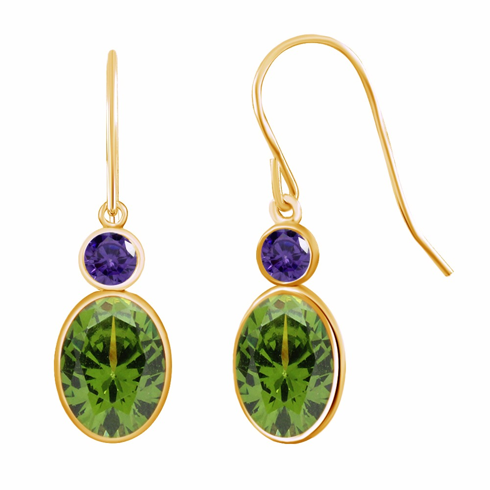 2.86 Ct Oval Green Peridot & Purple Stone Gold-colored Over Dangle Earrings gold plated stone asymmetry dangle earrings