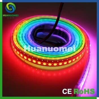 2 m/lot, 144 leds/m, PCB noir SMD5050 RGB imperméable à l'eau polychrome flexible led bande lumineuse 5 V