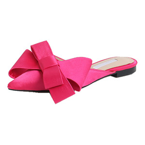 Image 5 - 2018 Lente En Zomer Vrouwen Schoenen Koreaanse Zijde Satijn Wees Strikje Slippers Baotou Platte Hak Sets Semi Slippers