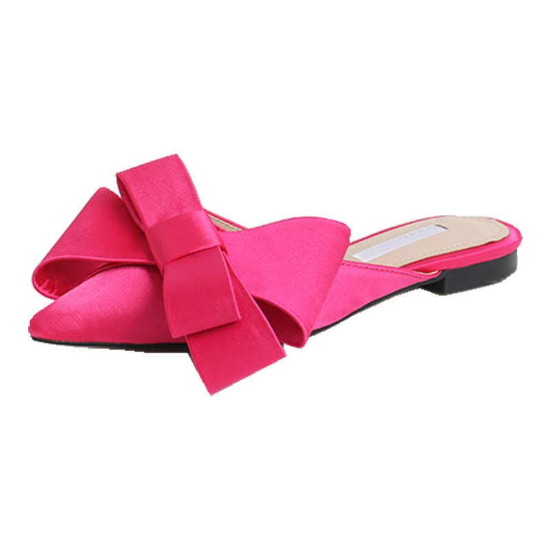2018 ilkbahar ve yaz kadın ayakkabısı kore ipek saten sivri papyon terlik Baotou düz topuk setleri yarı terlik