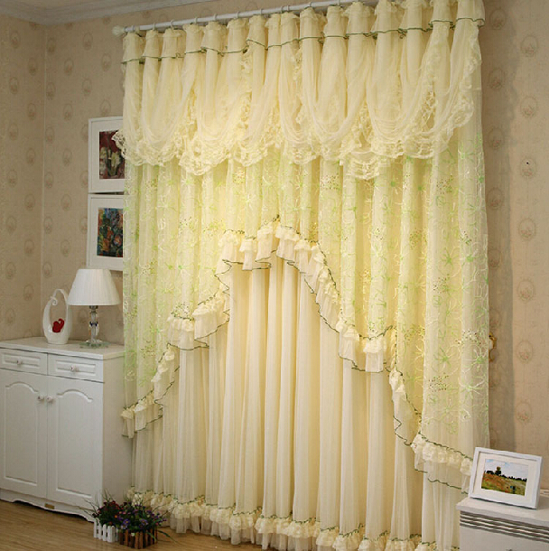 3colors Flower Lace Curtains Living Room Bedroom Embroidery Window  Screening Double Layeres Tulle+clothes Window Part 52