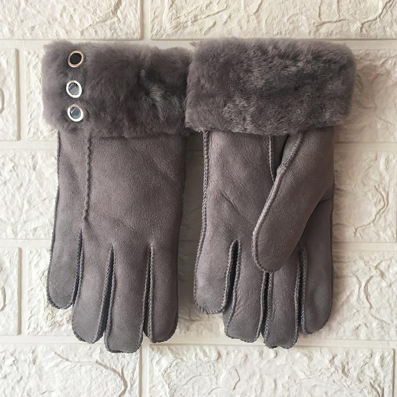 Vrouwen schapenvacht handschoenen Winter Warm 2019 Nieuwe Robuuste Schapenvacht Shearling Lederen Handschoenen Bont Manchetten