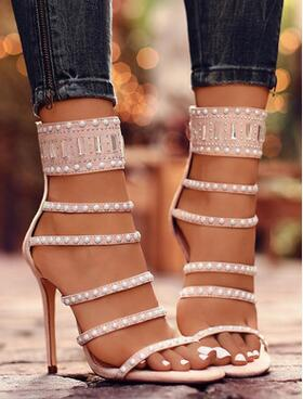 Фото 2018 spring and summer new European and American foreign trade hot drill high-heeled sandals beaded hollow sexy suede shoes