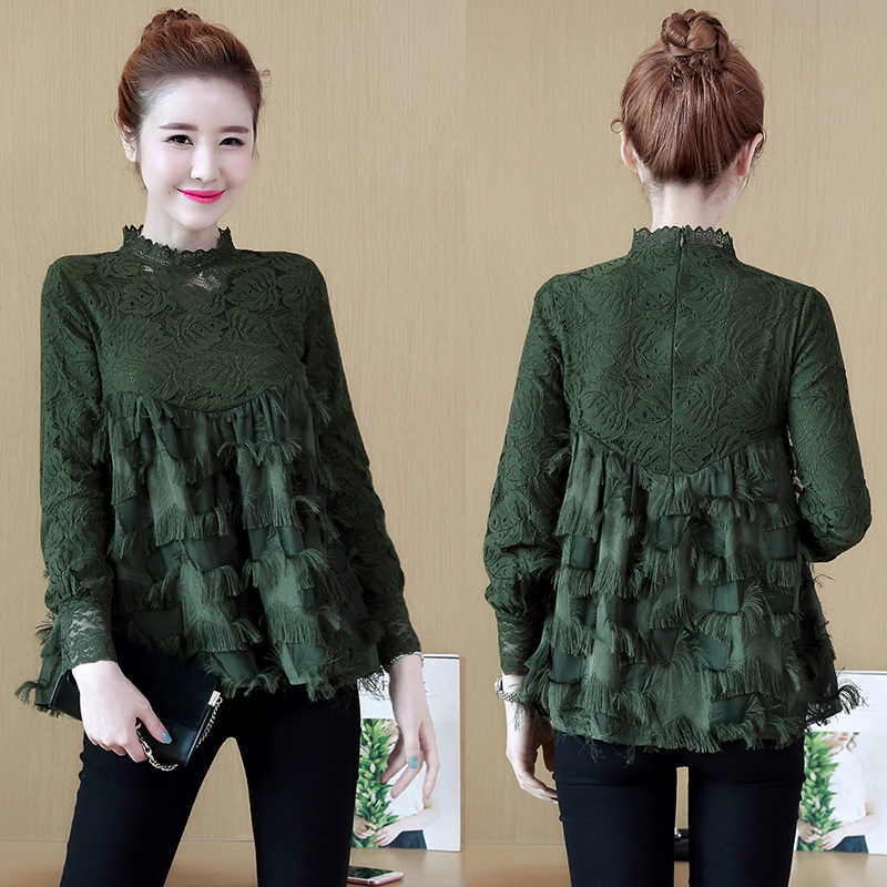a1712e78 2018 Women Shirts Full Sleeve Lace Slim Pentagram Tassel Blouse Shirt Green  Black Add White Wool 1801-in Blouses & Shirts from Women's Clothing ...