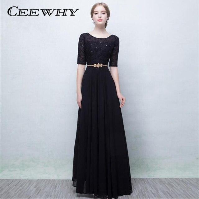 CEEWHY Burgundy Half Sleeves Chiffon Elegant Long Evening Dress 2018 Prom  Formal Party Dress Bride Gown Vestido de Festa Longue dfcb4603431e