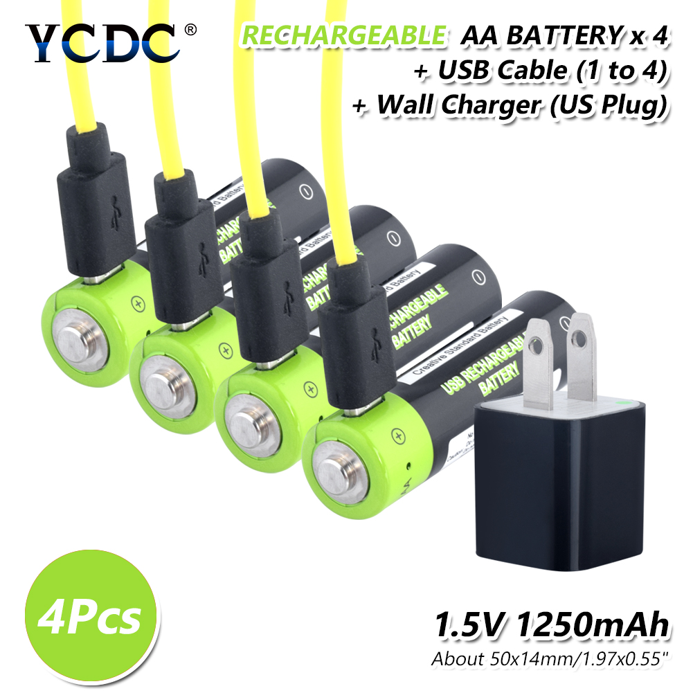 4pieces 1.5 V Volt 1250mAh Aa Rechargable Lithium Li-ion Polymer Batteries Micro USB Charge AA 2A Lipo Battery US/EU/UK Charger image