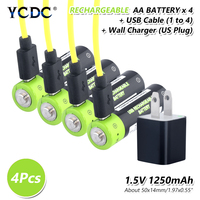 4pieces 1.5 V Volt 1250mAh Aa Rechargable Lithium Li ion Polymer Batteries Micro USB Charge AA 2A Lipo Battery US/EU/UK Charger