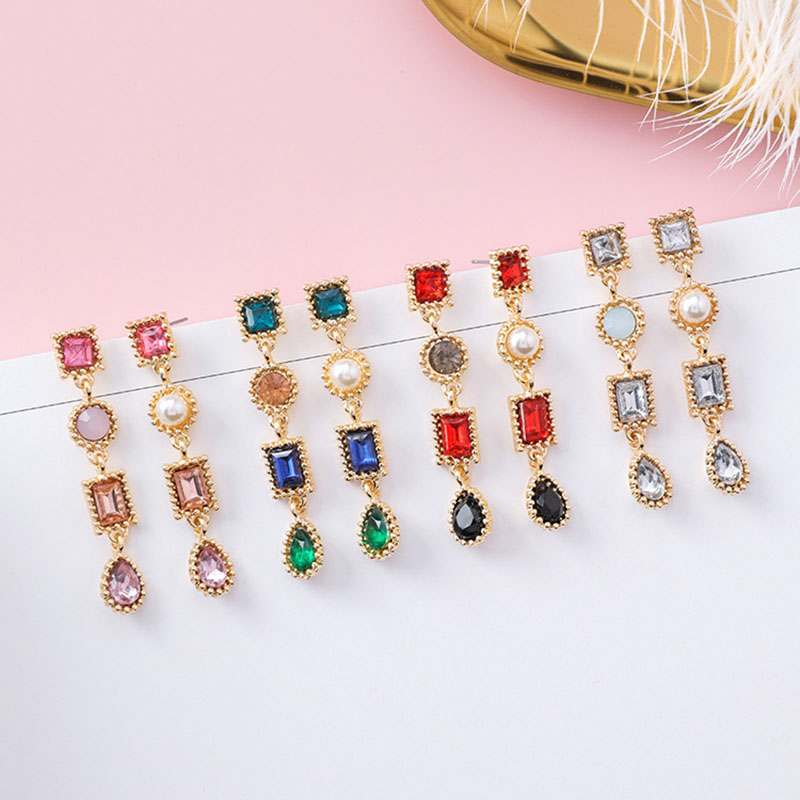 1 Pairs New Fashion Asymmetrical Luxury Multicolor Rhinestone Charm Pearl Long Earrings  ...