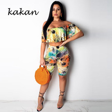 Kakan new sexy print tight jumpsuit two-piece one-shoulder casual fashion