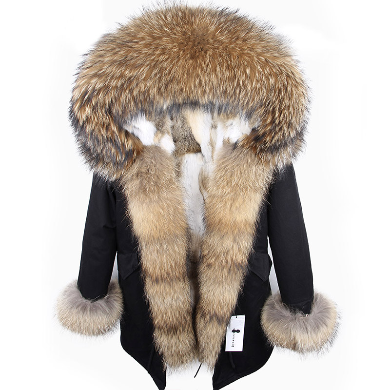 2018 new winter woman coat parkas jacket large raccoon fur collar hooded detachable rex rabbit fur
