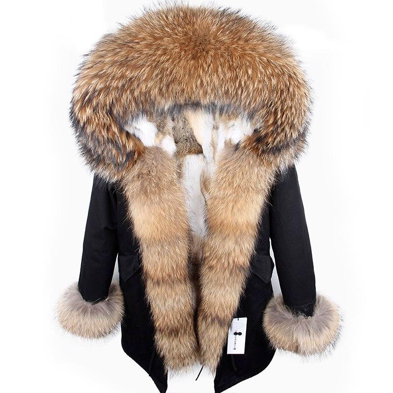 2018 nouveau hiver femme manteau parkas veste grande fourrure de raton laveur collier à capuchon amovible rex de fourrure de lapin doublure marque style Top marque
