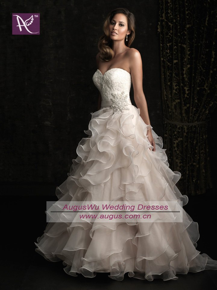 AWB0623 Latest Lace Corset Beaded Organza Ruffles Wedding Dress Custom Made
