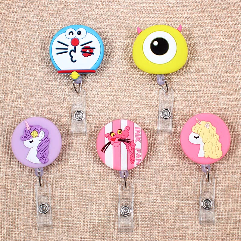 Cartoon Unicorn Cat Retractable The Badge Holder Reel Exhibition Enfermera Pink Panther Name PU Cards Hospital Office Chest Card