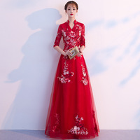 Chinese Traditional Embroidery Female Cheongsam Lace Floor Length Qipao Mesh Gown Oriental Bride Wedding Evening Party Dress