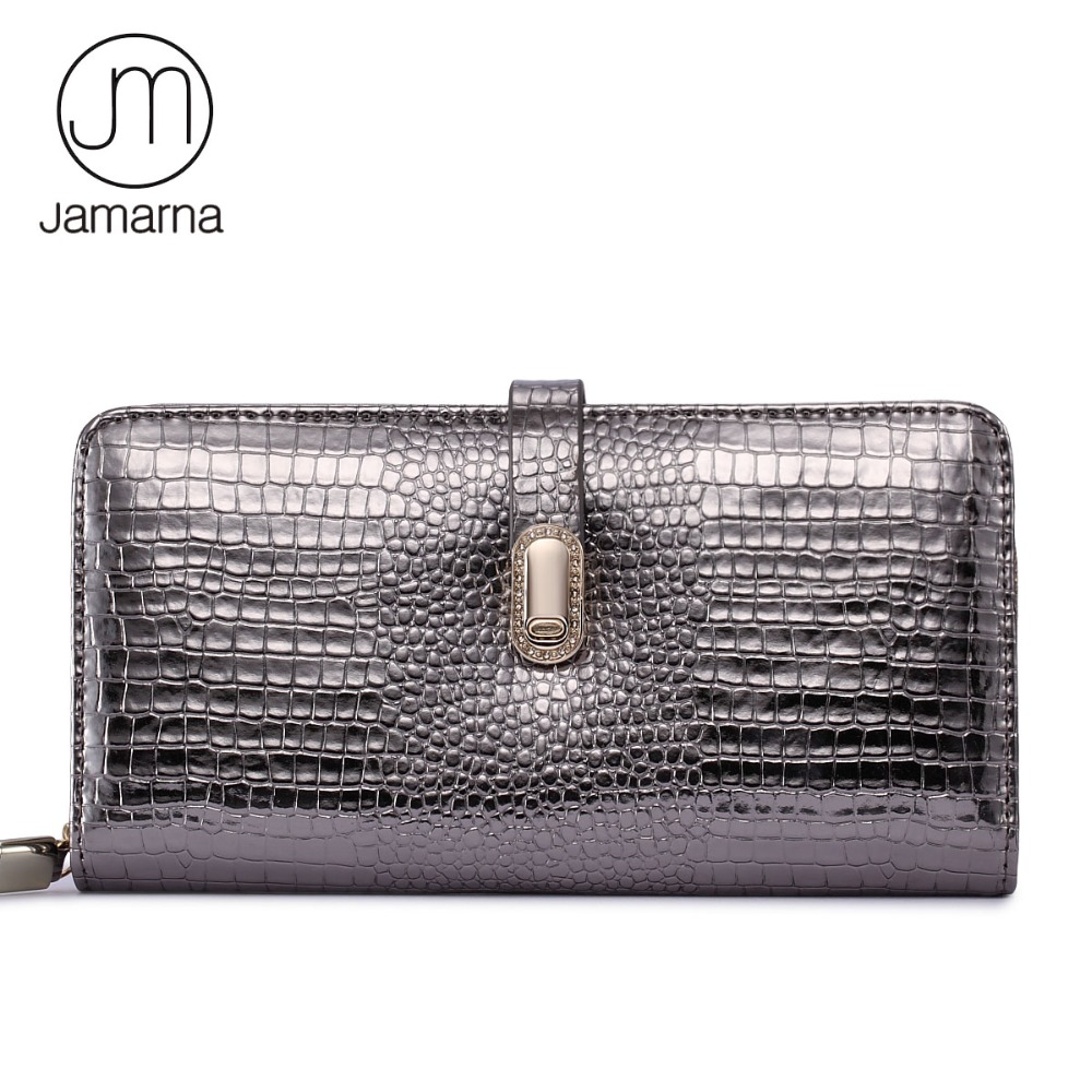 Jamarna Brand Wallet Female Genuine Leather Long Clutch Women Purse With Phone Holder Women Wallets Fashion Crocodile Leather genuine leather women wallets crocodile 3d head fashion clutch purse wallet alligator pattern long wallet women carteira