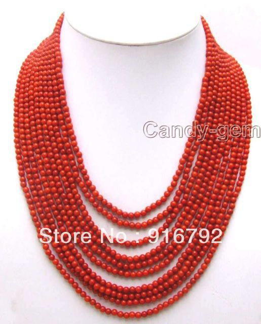 free shipping >>>>>SALE 10 Strands 4 MM Red Round High Quality natural Coral 18 23 Necklace ne5777
