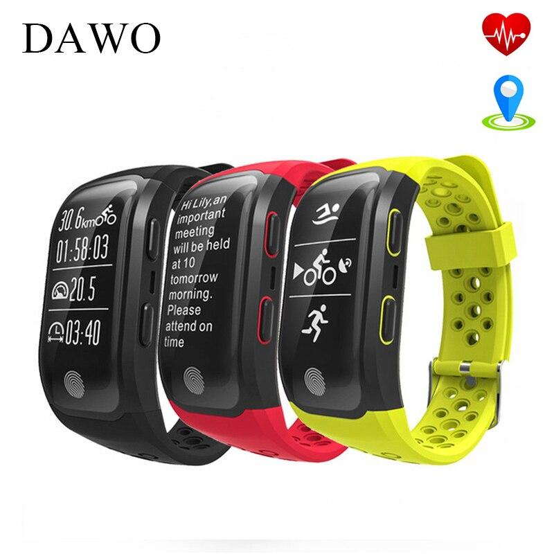 DAWO Smart Bracelet Fitness Tracker IP68 Waterproof Sport GPS Heart Rate Monitor Smart Wristband For Android IOS PK S2 miband 2 smart bracelet waterproof dw06 android watch gps sport band fitness tracker heart rate monitor pedometer wristband for men women