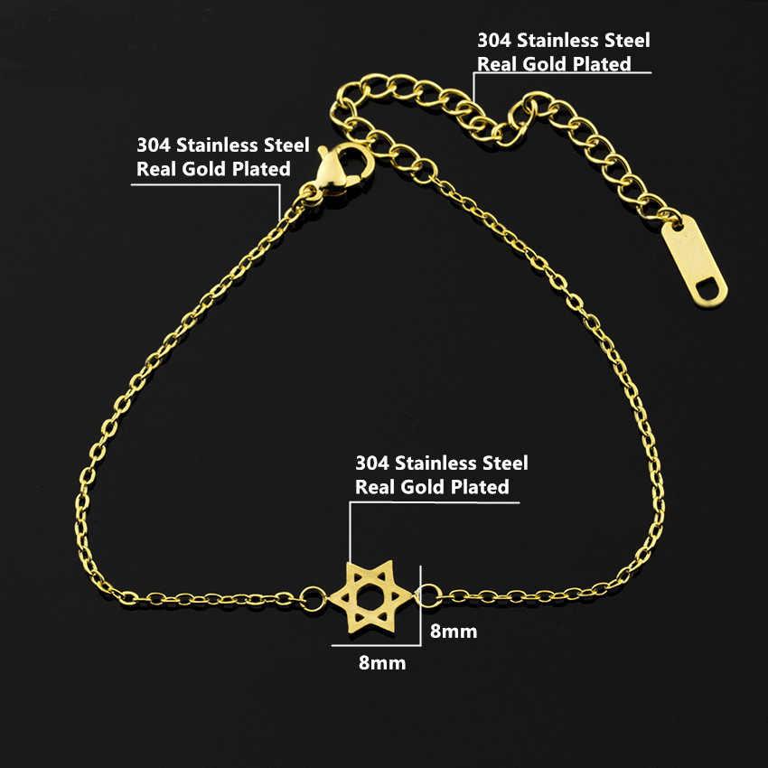 Clássico Magen Estrela De David Pulseira Elo Da Cadeia do Aço Inoxidável Pulseira Mulheres Pulseiras & Bangles Presentes de Aniversário de Jóias Judaica