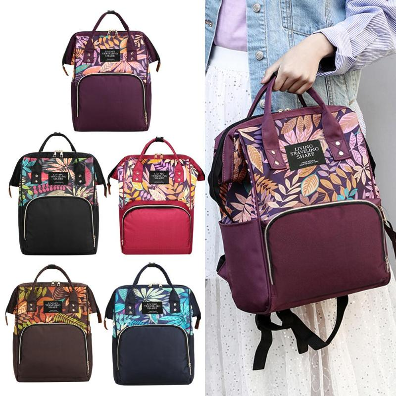 HTB1UPGBSMHqK1RjSZFEq6AGMXXaI Large capacity Mummy Maternity Travel Backpacks Nylon Plant Print 2019 Stylish Baby Diaper Shoulder Bags Daily Casual Travel New