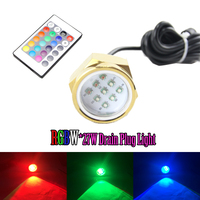 Excellent Quality IP68 Waterproof 27W RGB Drain Plug Light Led Underwater Lights RGBW Controller Marine Fishing