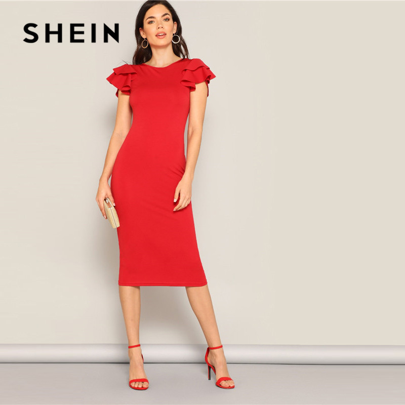 Image 5 - SHEIN Red Layered Ruffle Sleeve Crisscross Back Bodycon Dress Women Summer Elegant Sleeveless Solid Slim Midi Party Dress-in Dresses from Women's Clothing