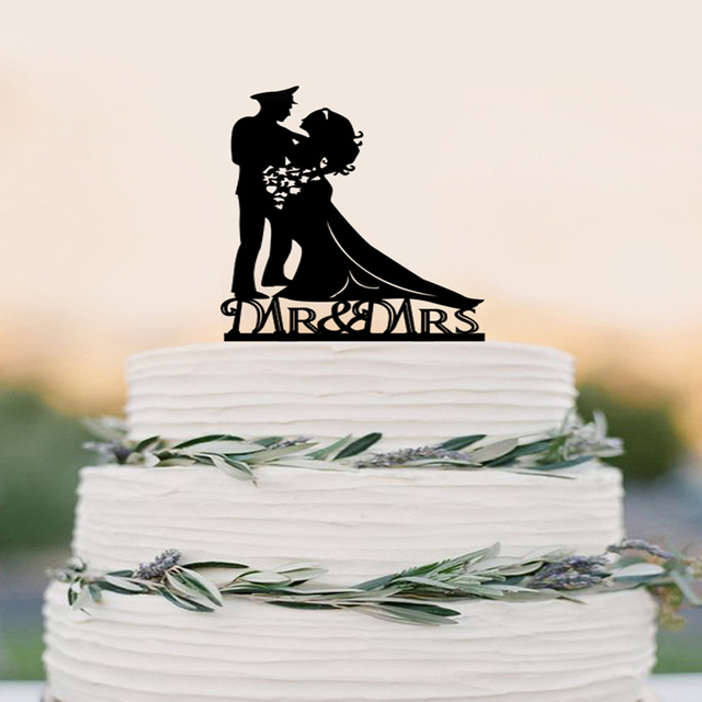 Wedding Cake Topper Silhouette Military Groom Amp Bride