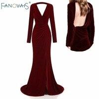 Burgundy Velvet Evening Dresses Long Sleeves Deep V Neck Backless Sexy Autumn Winter Prom Dress Vestifo