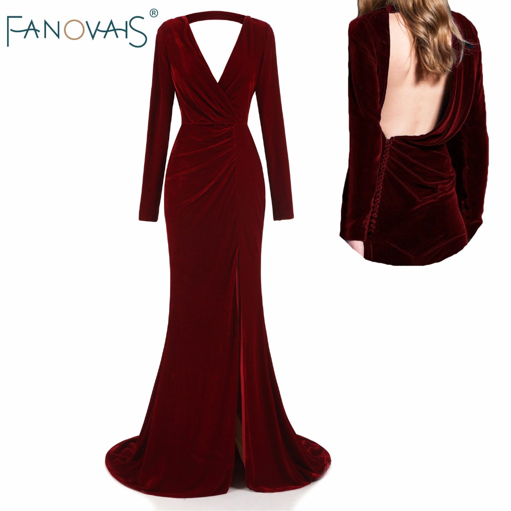 Burgundy velvet Evening font b Dresses b font Long Sleeves Deep V Neck Backless Sexy Autumn