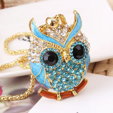 Lovely Cute Bright Beautiful Owl Alloy Pendant Necklace Pierced Colorful Crystal Design for Women Boho Chic Jewelry