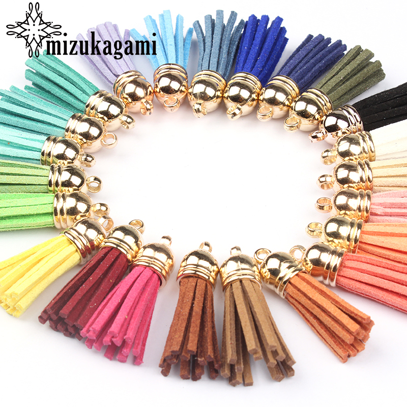New Fashion 30pcs/lot Colorful Vintage Leather Tassel 37*10MM For Keychain Cellphone Straps Jewelry Fringe DIY Pendant Charms