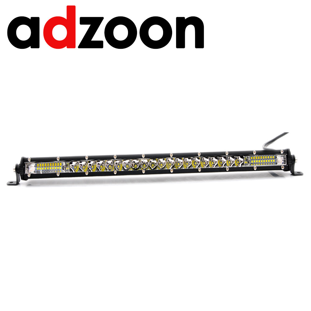 ADZOON  21inch 120W 6000K Off road Single Row Light Bar LED IP67 Waterproof Lamp for Truck SUV Offroad
