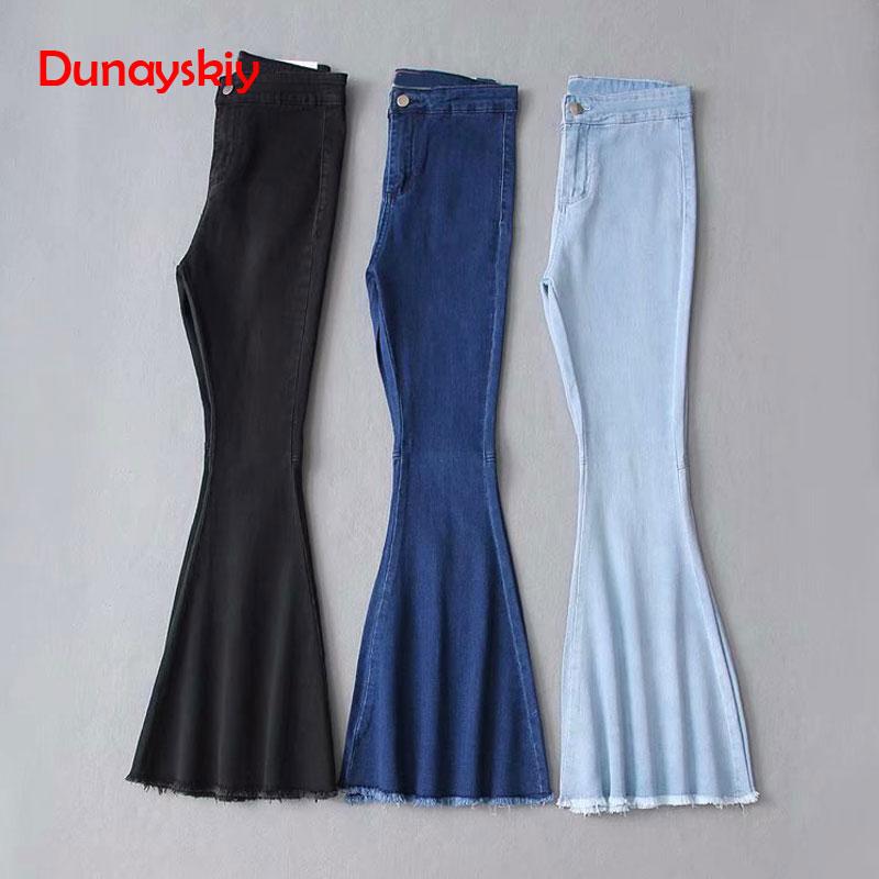 2019 Solid Wash Female Boyfriend   Jeans   For Women Skinny   Jeans   Woman Blue Black High Waist   Jean   Denim Flare Wide Leg   Jeans   Pants